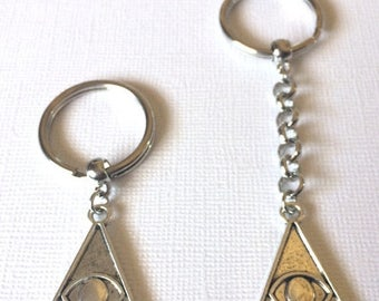 SUMMER SALE Silver Illuminati Evil Eye Keychain Keyring or Zipper Pull