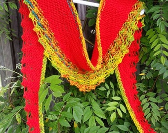 Shawl Bright and Cheerful Hand Knit Shawlette FREE Shipping in USA
