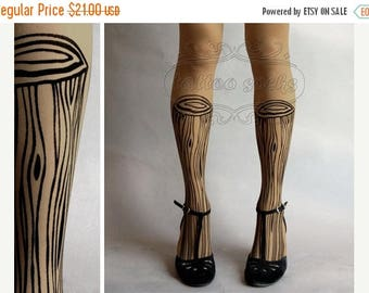 ON SALE/// thigh-high Wooden Legs TATTOO gorgeous stockings cafe latte