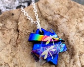 Small 3D Dichroic Glass Pendant Necklace  Blue Dragonfly