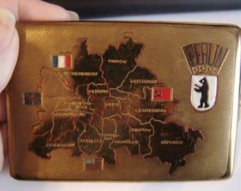 Vintage Germany Berlin Business Card Holder Brass Plated