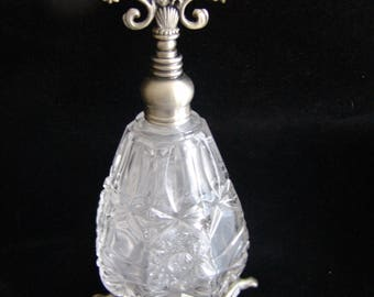 Vintage Crystal Perfume Bottle with Pewter? Platinum?  Dauber