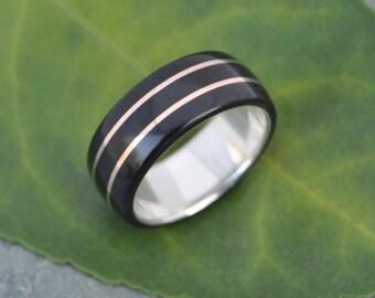Size 8.25, 8mm wide READY TO RING Juntos Ring - elegant wood wedding ring or engagement ring