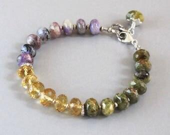 Charoite Citrine Garnet Bracelet Sterling Silver DJStrang Purple Violet Yellow Green Gemstone Boho Cottage Chic