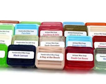 Half Dozen Mini Soap Bars, Party Favor, Guest Soap, Small Soap Bar, 23 choices