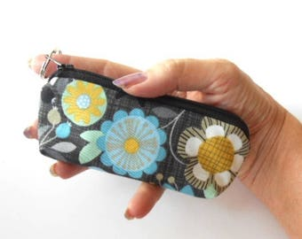 Mini Key Chain Zipper Pouch ECO Friendly Padded Lip Balm Case NEW Bohemia Floral