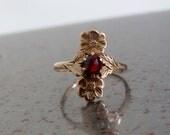 Antique Victorian Edwardian 14K Rose Cut Garnet Pansy Posy Ring Size 6.5