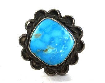 60s Navajo Turquoise & Sterling Silver Ring / Vintage Old Pawn Native American Jewelry / Size 9.75