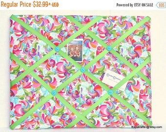 July 4th Sale Memory Board, In The Bloom With Many Colors, French Memo Board, Fabric Ribbon Board, Photo Picture Board, Birthday Gift, Bedro