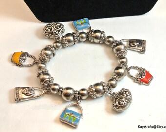 Silver Bead Vintage Charm Bracelet Vintage Purse Charm Bracelet Stretchable Bead Bracelet Silver Tone Bracelet Free Shipping In USA