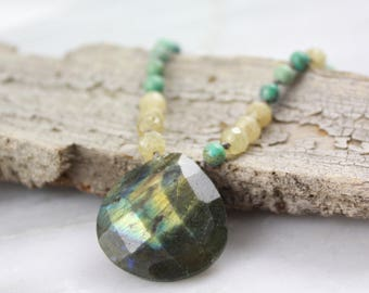 Labradorite, Citrine and Turquoise Necklace