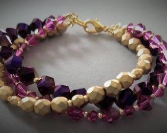 Lynnette - purple, pink and GOLD multistrand bracelet