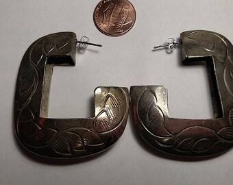 Huge Vintage Unusual Pierced Posted Square Engraved Silver Hoop Earrings Boho Large Rustic Worn