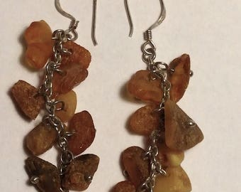 BIG SALE Boho 1970s Long Sterling Silver Raw Baltic Amber Beads Waterfall Statement Earrings Goth