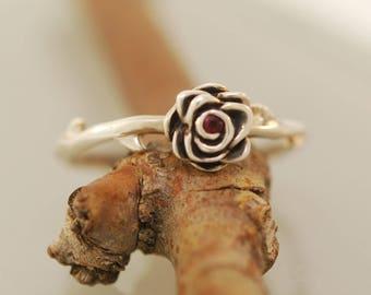 Thorn Rose Ring  with aquamarine