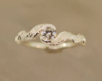 Cascading Leafs, Alternative engagement ring,branch ring,twig ring,engagement ring,sterling twig ring,moonstone ring,