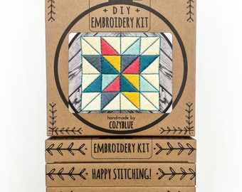 BARN QUILT embroidery kit - embroidery hoop art, DIY stitching kit, folk art, embroidered quilt, farm life, barn quilt pattern, needle art