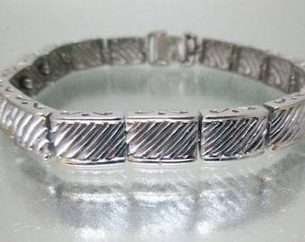 Sterling Silver Bracelet Diagonal Lines