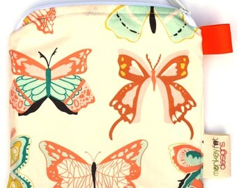 X Small 6.5 x 6.5 Wet bag / Reusable Snack Bag / Toys / Electronics / Wingspan Butterfly Fabric / SEALED SEAMS