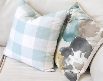 """Couch throw pillow Cover, Invisible zipper closure, Watercolor floral Gray, Tan, Teal. 18"""" square, Home decor, cushion, canvas, twill fabric"""