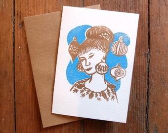Holiday Diva retro linocut letterpress greeting card