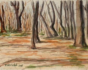 Forest View original watercolor on handmade paper