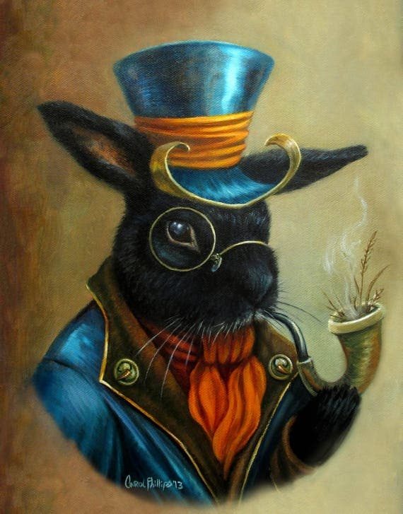 ACEO Bunny Rabbit Portrait, Rabbit Art ,Anthropromorpic animal, cute, Print, Illustration, Artwork, Print, Steampunk by CarolPhillipsArt steampunk buy now online