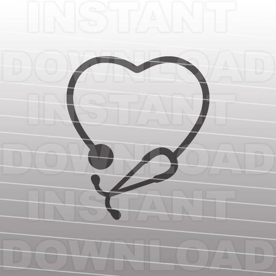 Stethoscope Heart Nursing SVG File Cutting Template-Clip ...