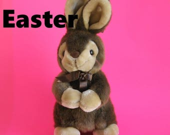 Vintage Large Easter Bunny Rabbit Stuffed Animal by AMERICA WEGO Fiesta Begging Bunny Brown and Cream Faux Fur 1980s Toy Plush