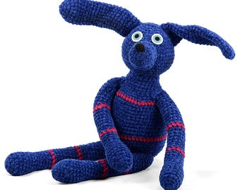 boris - blue with dark pink stripes one of a kind handmade crocheted chenille dog softie plush animal