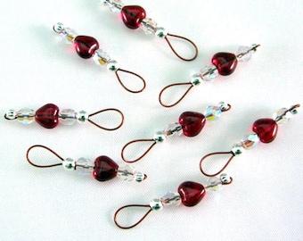 Garnet Heart Stitch Markers on Brick Red Wire - US 10 - Item No. 698