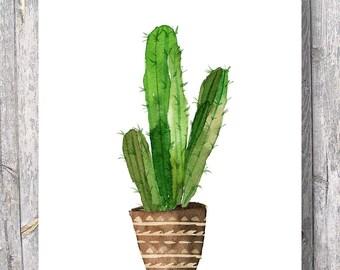 Cacti art print Printable art Watercolor cactus Hand painted watercolor botanical decor Printable wall art watercolor cacti art, house plant