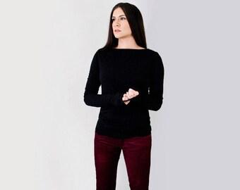 Women's Super Long Sleeve Boatneck Shirt • Dressy Tshirt • Tall Long Lengths • Loft 415 Clothing (No. 214)