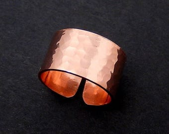 Wide Copper Ring, Adjustable Hammered Ring, Unisex, Minimalist Jewelry