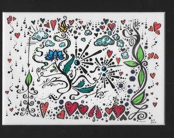 """watercolor /  pen & ink *original*  7"""" x 5""""  """"Bleep Bloop"""" original art  * twilightdance"""