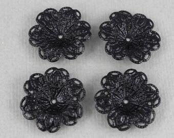 Vintage, black coated, filigree flower elements - 24mm - 4 pcs - VTG203