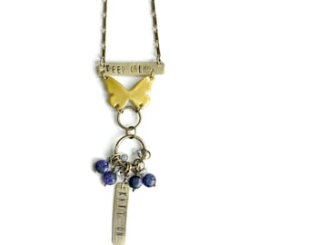 Keep Calm Stitch Marker Necklace with Removable Parts