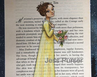 Jane Austen Marianne - Sense and Sensibility original painting on book page - The Same Music Must Charm Us Both