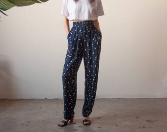navy blue polka dot print trousers / lounge easy fit pants / baggy pants / s / m / 2676t