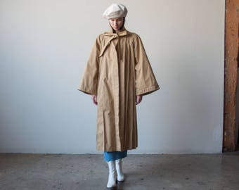 70s pleated trench coat / wide sleeve trench / s / m / 2383o / R4