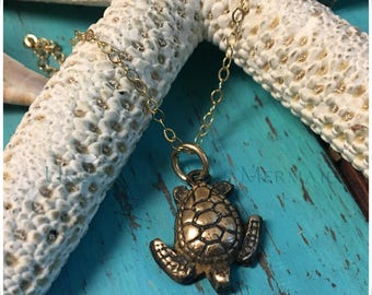 Antiqued Mini Bronze Turtle on a Delicate Gold Filled Chain