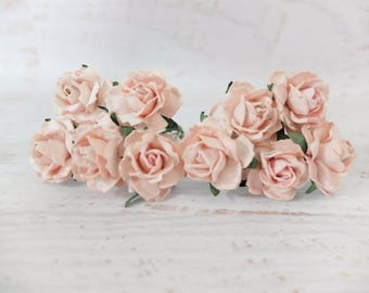 """10 - 1"""" light blush pink mulberry paper roses with wire stems (style 1)"""