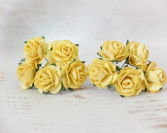 10 25mm mulberry yellow roses - 1 inch paper flowers