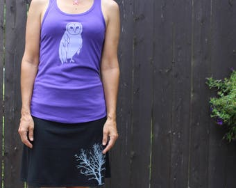Owl Tank Top Purple XS,S,M,L,XL