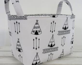 READY TO SHIP - Storage and Organization  - Black Teepees - Arrows on White - Tribal Navajo - Fabric Organizer Bin Storage Container Basket