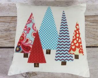 CHRISTMAS Pillow Cover | Red and Aqua Blue Applique Trees | Holiday Decor | Winter Home Decor | Christmas Xmas Decor