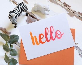 SALE Hello Orange Card - New Baby Card - Typography Card - Notecard