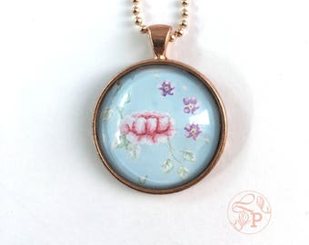Vintage rose pendant / Floral illustration jewellery / Rose gold pendant necklace/ rose gold jewellery /  pale blue / shabby chic floral