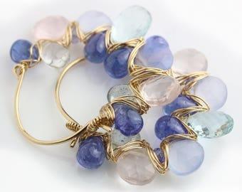 Aquamarine Tanzanite and Rose Quartz Gem Weave Hoop Earrings in Gold Fill