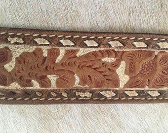 Vintage Leather Tooled Western Belt Jan Stamped leather 1980's belt